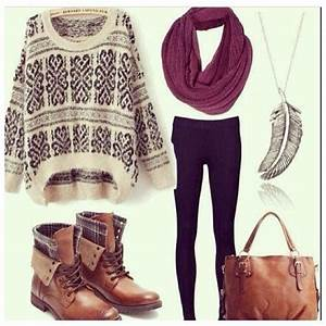 I love the brown fold down combat boots, infinity scarf ...