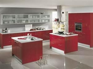 idee deco cuisine gris et rouge With idee d co cuisine rouge