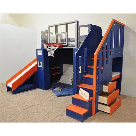 bunk bed with slide and desk the ultimate basketball bunk bed backboard slide and more