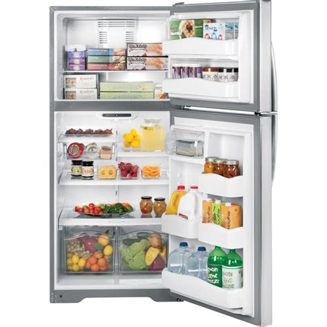 ge gthsbbss  cu ft top freezer refrigerator  split spill proof glass shelves gallon
