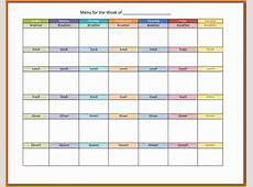 Meal Calendar Template Template Business