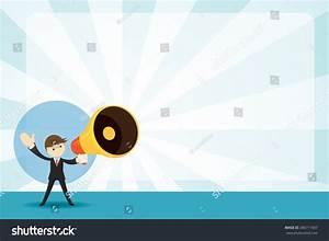 Businessman Megaphone Announcement Background Commercial ...