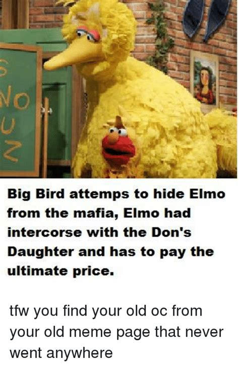 Big Bird Memes - big bird attemps to hide elmo from the mafia elmo had intercorse with the don s daughter and has