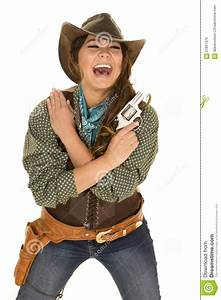 Cowgirl With Gun And Holster Laugh Stock Photo - Image ...