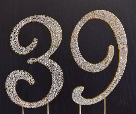 rhinestone gold number 39 cake topper 39th birthday