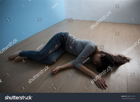 Depression Woman Lying On Floor Stock Photo 586172273