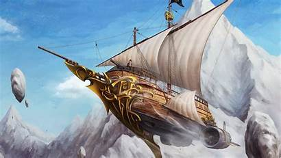 Steampunk Ship Flying Sky Captain Air Desktop