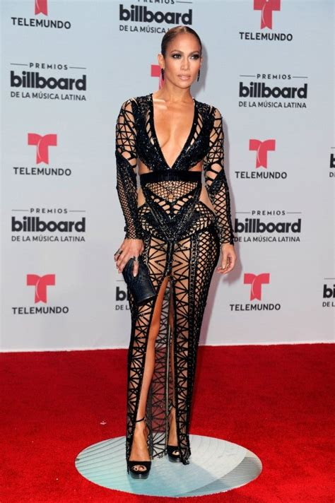 jennifer lopez stuns  revealing black dress  billboard latin  awards entertainment