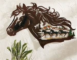 Western horse metal shadow wall art