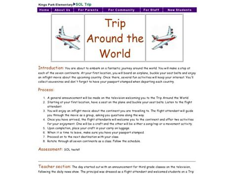 Trip Around The World Lesson Plan For 3rd