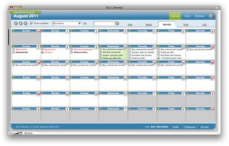 SUI Calendar, a FileMaker Pro calendar template. Available ...