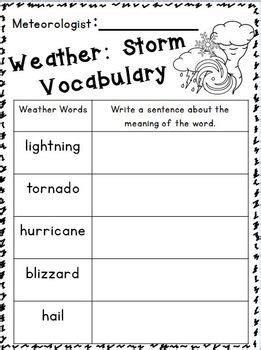 weather unit elementary science science