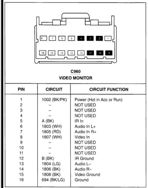 2010 Ford Explorer Radio Wiring Diagram by Need Rear Seat Entertainment Wiring Diagram For 2001 Eddie