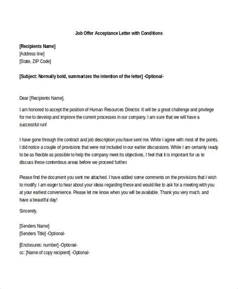 sample job offer acceptance letters