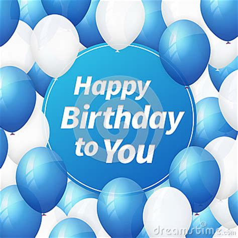 happy birthday greeting card  white  blue balloons
