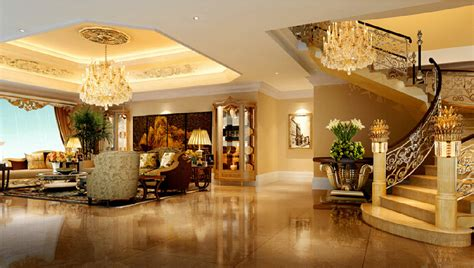 Villa Living room stairwell chandeliers luxury