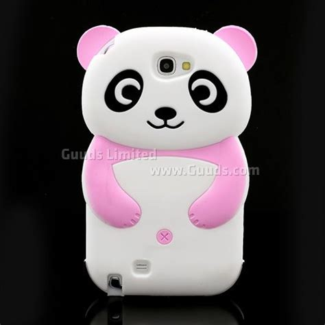 Silikon Pink Samsung Note 2 3d panda silicone for for samsung galaxy note 2