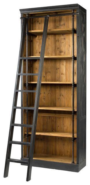 Rustic Ladder Bookcase by Ashlyn Rustic Lodge Pine Wood Metal Ladder Bookcase