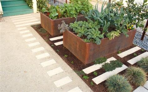 pavers crushed granite corten planters outside