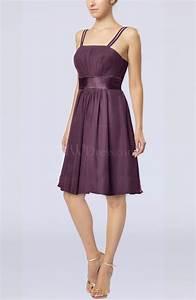 plum plain a line spaghetti chiffon mini sash wedding With plum dress for wedding guest