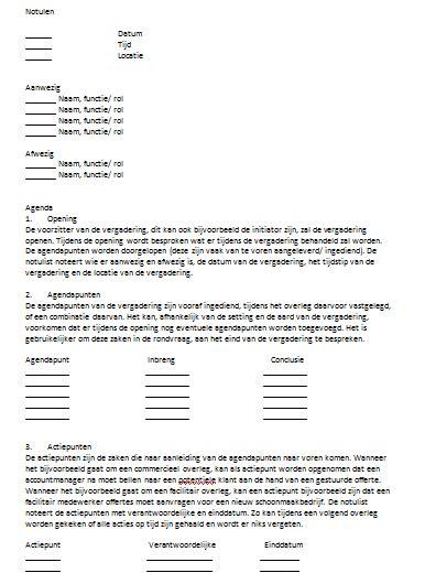 Contoh Teks Notulen by Voorbeeld Notulen 2