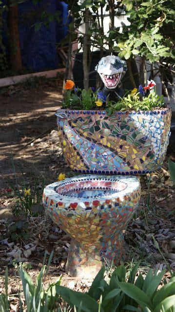 pink houses  mosaic toilets toilet art mosaic garden