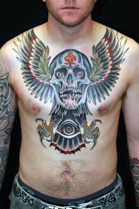 skull chest tattoo designs  men haunting ink ideas