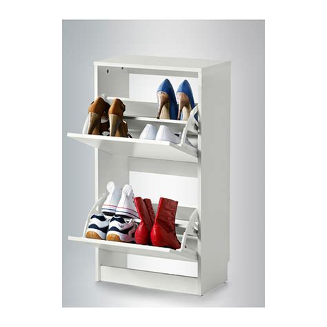 ikea bissa new shoe cabinet with 2 compartments white ebay