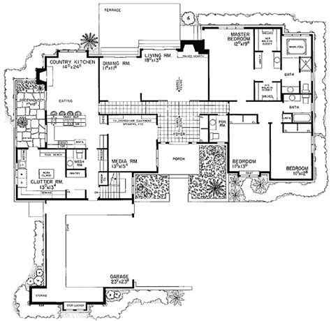 shaped ranch house plan  architectural designs
