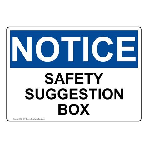 osha safety suggestion box sign