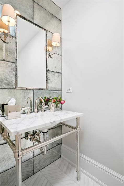 Mirror Tiles In Bathroom by Arch Bath Vanity Nook With Antiqued Subway Tiles