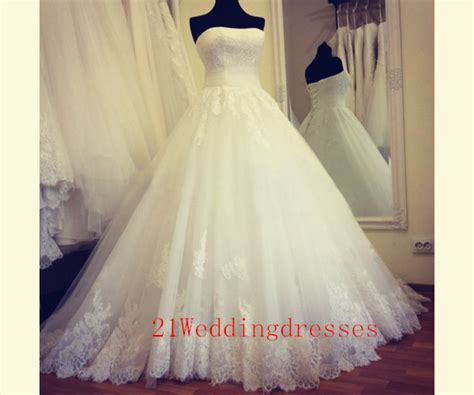 Elegant White Lace Long Wedding Dresses,strapless Wedding