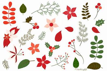 Christmas Clip Flowers Clipart Floral Foliage Leaves