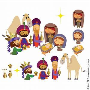 Christmas Nativity Clipart Scene includes Three Wise Men