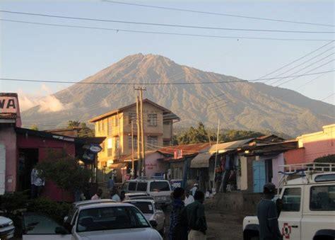 Typical Street In Arusha Tanzania Mount Meru In The