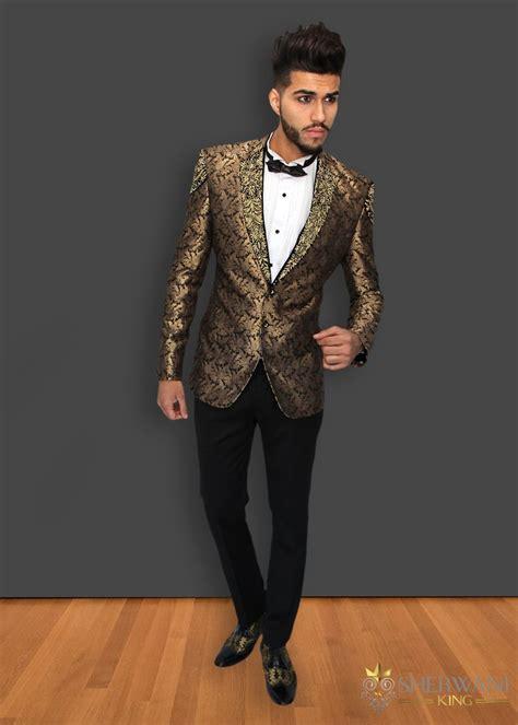 black  gold brocade embroidered tuxedo suit sherwani king