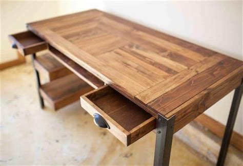 how to build a wooden desk pallet desk with drawers and shelves pallet furniture diy