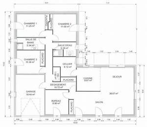 plan maison plain pied en l 120m2 With plan de maison 120m2 5 plan maison mitoyenne