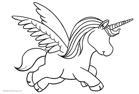 cartoon unicorn coloring pages  wings  printable coloring pages