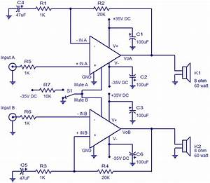 2 X 60 W Audio Amplifier Circuit