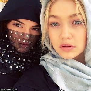 Cultural Appropriation Halloween Examples by Khloe Kardashian Pouts And Wears A Black Hijab In Selfies