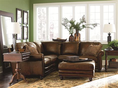 Leather Living Room Furniture For Small Spaces by Bassett Hamilton Traditional L Shaped Leather Sectional
