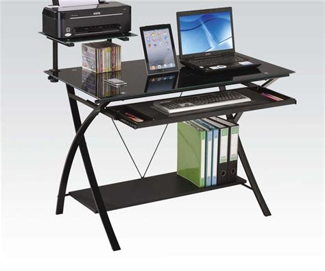Glass And Metal Computer Desk Black by Erma Black Glass And Metal Computer Desk By Acme 92078