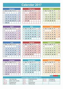 2017 Calendar with Holidays Printable Yearly Calendar ...