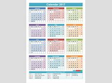 2017 calendar with holidays printable Download 2019