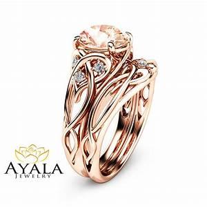 2 carat morganite engagement rings 14k rose gold ring set With rose gold wedding ring set