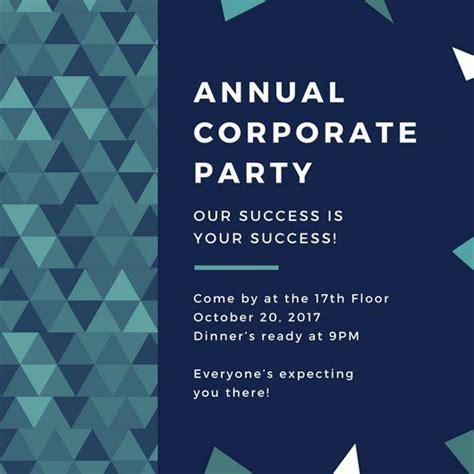 blue green triangles corporate party invitation