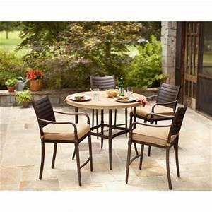 hampton bay madison 5 piece patio high dining set with With home depot high top patio furniture