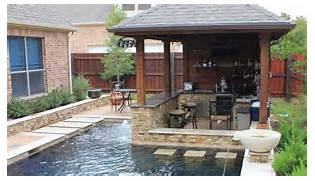 Patio Home Designs Texas by Small Yard Patio Cover With Outdoor Kitchen And Custom Pool In Cypress Texas