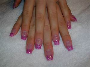 Pink French Tip Nails With Glitter | HAIRSTYLE GALLERY